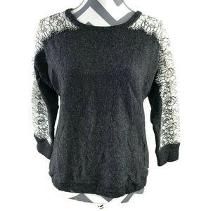 J Crew Crewneck Sweater Edged Lace Wool Blend